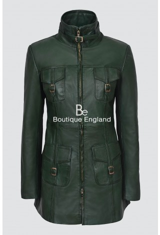 MISTRESS Ladies GREEN Gothic Style Real Soft Lamb Leather Jacket Coat 1310