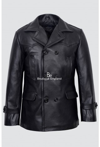 GERMAN PEA COAT Dr-Who Black Men's Classic Reefer Military Hide Leather Jacket