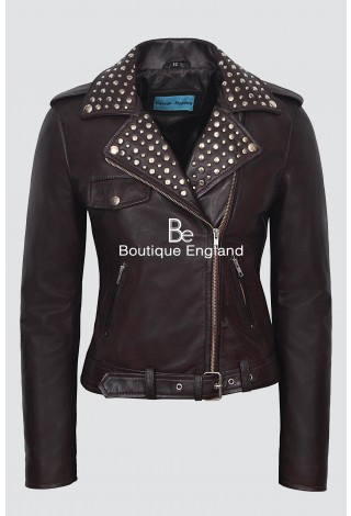 ROCKSTAR Ladies 4326 Brown Napa Studded Rock Chic Biker Motorcycle Style Leather Jacket