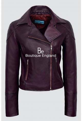 Ladies New Lilly CHERRY Napa Real Leather Collard Biker Fashion Trendy Jacket