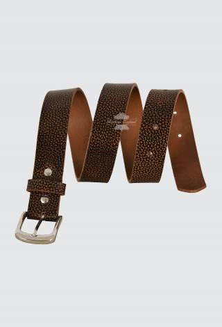Men's Real Leather Tan Belts Dotted Printed 100% Cowhide Strong Casual Style 645