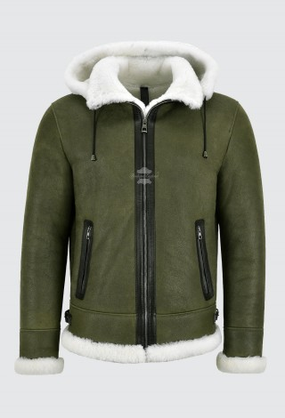 Men's Premium Sheepskin Jacket B3 Bomber Olive Shearling Hood Winter Jacket A-Pilot