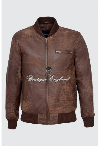 Men's Brown Buff Classic Vintage Look Retro Full Rugged Character Leather Jacket 275