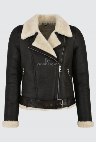 Ladies B3 Shearling Sheepskin Jacket 100% Genuine Brown Beige Fur Biker Style