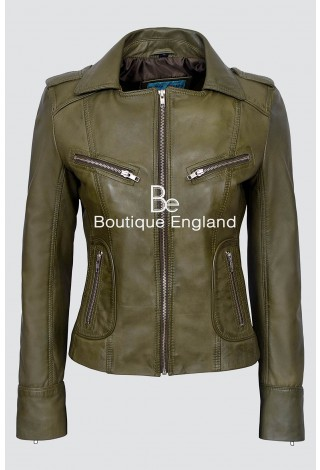 'RIDER' Ladies Olive Green Biker Motorcycle Style Soft Real Lamb Leather Jacket 9823
