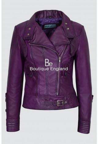 Ladies SUPERMODEL 4110 Purple Rock Biker Style Designer Real Nappa Leather Jacket