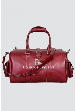 'DUFFLE' Medium Weekend Cherry Plum Holdall Travel Gym Real Genuine Leather Bag