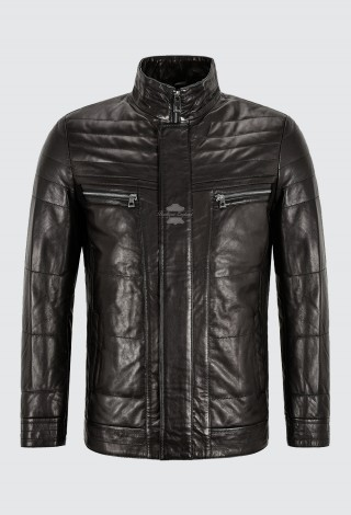 Men's Classic Leather Jacket Black Quilted Semi Veg Winter Napa Leather Jacket EM-04