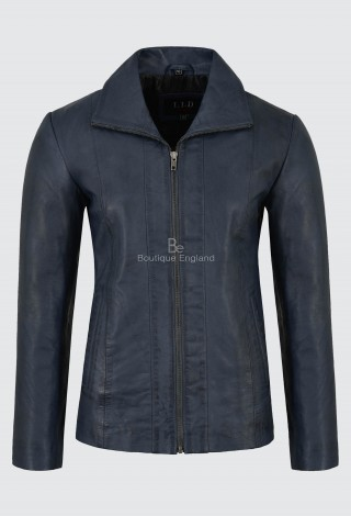 Ladies Sky Blue Real Leather Jacket Regular Fit Soft Lambskin Classic Formal Look 880