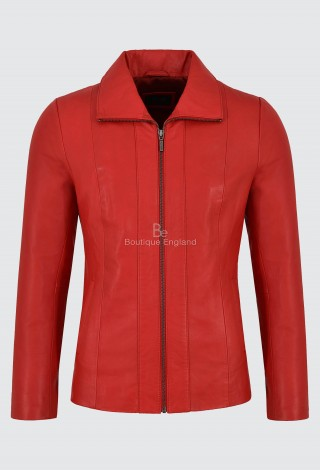 Ladies Red Real Leather Jacket Regular Fit Soft Lambskin Classic Formal Look 880