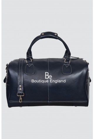 'HOLDALL' Large Weekend Navy Blue Duffle Travel Gym Real Genuine Leather Bag