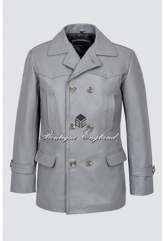 GERMAN PEA COAT Men's Dr-Who Grey Classic Reefer Military Hide Leather Jacket Coat