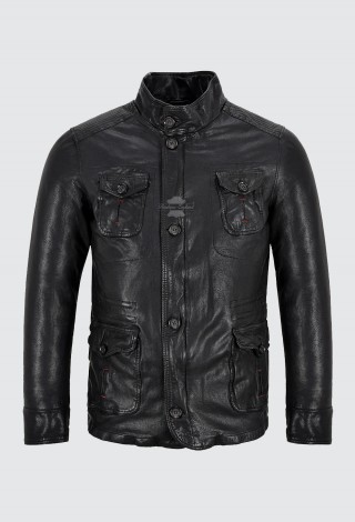 HUNTERS Men's Veg Tanned Leather Jacket Black Vintage Washed Soft Leather Jacket 2019