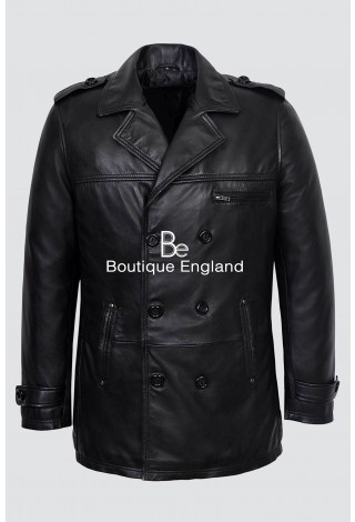 GOODFELLA 9060 Black Men's Classic Reefer Nappa Lambskin Leather Coat Jacket