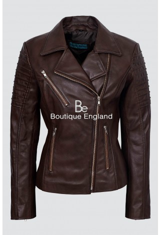 Ladies Brown Stylish Fashion Designer Biker Soft Real Leather Jacket 9334