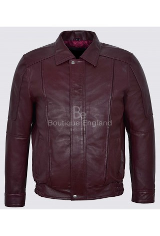 Joshua New Mans  Cherry Red Blouson Real Soft Napa Leather Bomber Jacket 6011