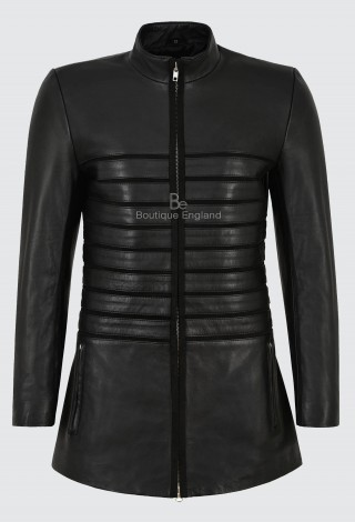 MINIKI Woman's Long Leather Jacket Black Horizontal Pinstriped Suede Trimmed 2551