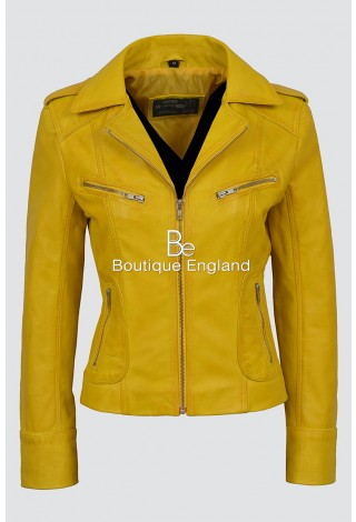 'RIDER' Ladies yellow Biker Motorcycle Style Soft Real Napa Leather Jacket 9823