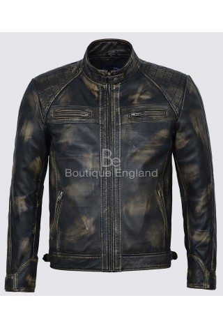 Brad Pitt's Men Speed Racing Quilted Black Vintage Real 100% Leather Jacket 1201