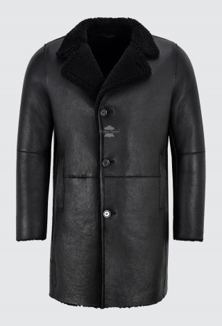 Men's Sherling Sheepskin Coat Black Classic Real Shearling Trench Reefer Warm Coat 2K320