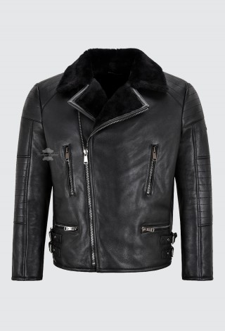Men's Biker Sheepskin Jacket Black Real Shearling Fur Bomber Classic Winter Jacket