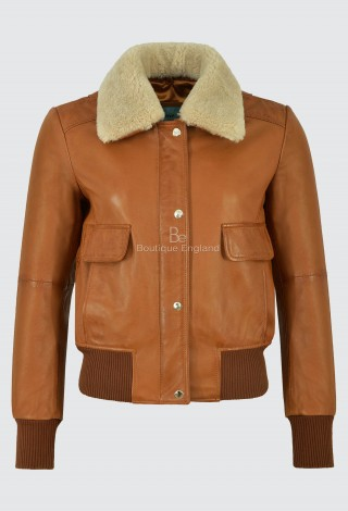 Ladies Petite Bomber Leather Jacket Tan Fur Collar B3 RAF Classic Style 5118