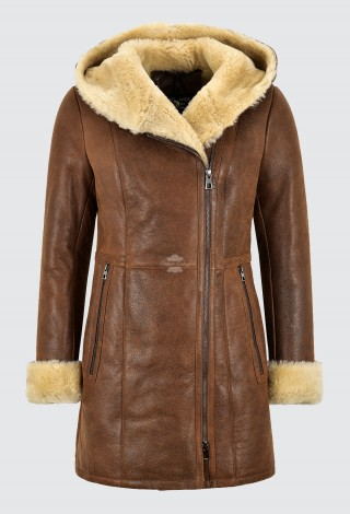 Ladies Sheepskin Jacket Copper Vintage Real Shearling Hooded B3 Long Jacket NV-39