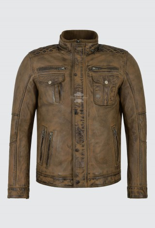 Men's Real Leather Jacket Dirty Brown Napa Casual Biker Style 1501