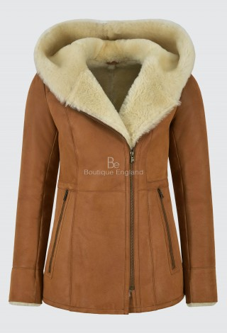Ladies Sheepskin Jacket B3 Tan White Fur Classic REAL Shearling SHEEPSKIN NV-39
