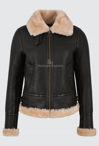 Ladies B3 Brown with Beige Fur Sheepskin Jacket 100% Real Shearling Flying Aviator RAF Style F-05