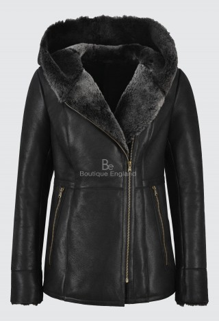 Ladies B3 Flying Sheepskin Shearling Jacket Black Fur Hooded 100% Genuine NV-39