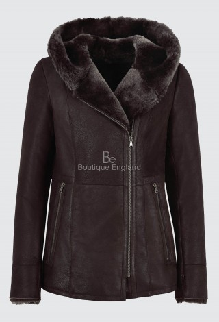 Ladies B3 Flying Sheepskin Shearling Jacket Dark Berry Fur Hooded Genuine NV-39
