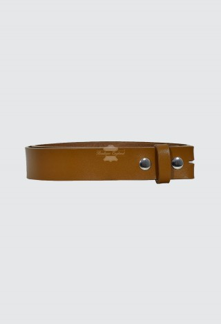 Men's Tan Genuine Real Cow Hide Leather Stud Snap Clip On Belt Strap 40mm Style 605