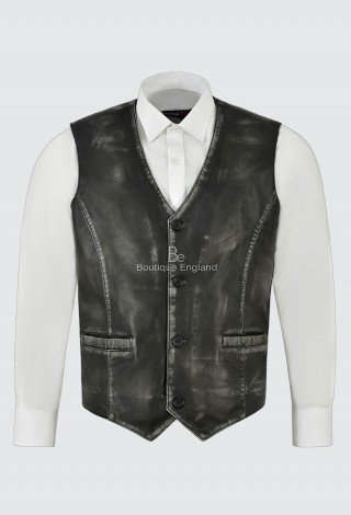 Men's Real Leather Vest Black Vintage Napa New Party Fashion Stylish Waistcoat 5226