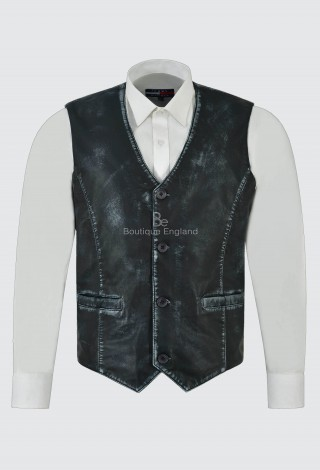 Men's Real Leather Vest Navy Vintage Napa New Party Fashion Stylish Waistcoat 5226