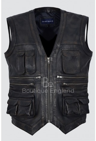 Men's Jurassic World Chris Pratt Owen Grady Real Leather Vintage Black Rub Off Waist Coat Vest 1188