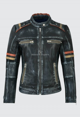 Women Real Leather Jacket Navy Vintage Napa Casual Biker Motorcycle Style 2640
