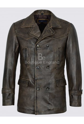 Men's Dr-Who Marshal Combat World War 2 Dirty Brown Vintage Leather Coat Jacket New