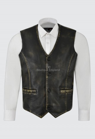 Men's Real Leather Vest Yellow Vintage Napa New Party Fashion Stylish Waistcoat 5226