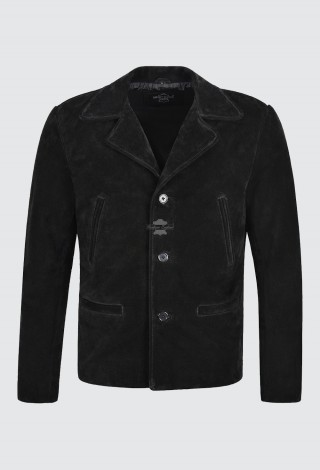 Men's 70's Leather Jacket Black Suede Classic Collared Blazer Casual Style 4162