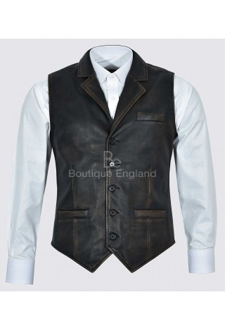 Men's Real Leather Waistcoat Party Fashion Classic Vintage Black Rub Off Traditional Style 1349