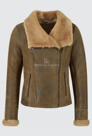 Ladies Sheepskin Jacket 100% Real Shearling Antique Beige Aviator RAF Style NV-40