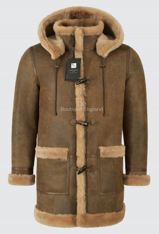 Men's Leather Genuine Sheepskin Duffle Coat Hooded 100% Real Shearling Fur F-42