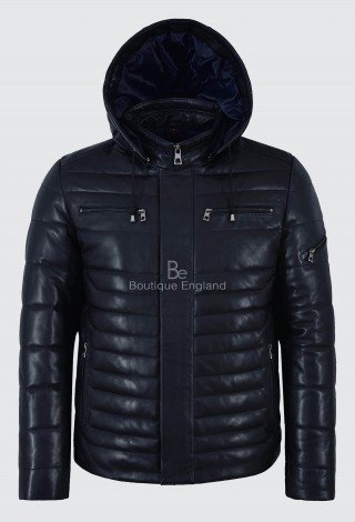 Men's Puffer Hooded Leather Sport Jacket Navy 100% Lambskin Fully Quilted 2006