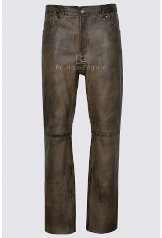 Men's Jeans Dirty Brown Waxed Real Leather Motorcycle Biker Trouser Pants 501