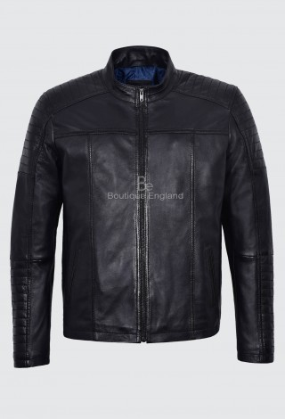 Men's Real Leather Jacket Black Fashion Series BIKER CASUAL RETRO STYLE 1418