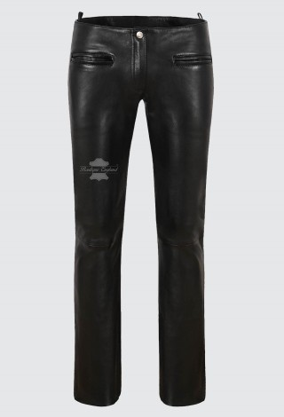 Ladies Fashion Leather Trouser Sexy Italian Black Soft Lambskin Biker Pants 4566