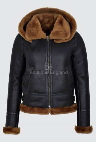 Ladies Sheepskin Jacket Brown Ginger FUR Hooded B3 Flying SOFT REAL LEATHER F-05