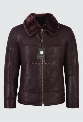 Men's B3 Fur Shearling Sheepskin Leather Jacket Bordeaux Bomber Flying RAF LKM-148