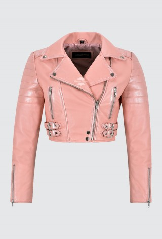 Women Baby Pink Leather Jacket White Pearl Effect Cropped Bikers Fashion Jacket 5625